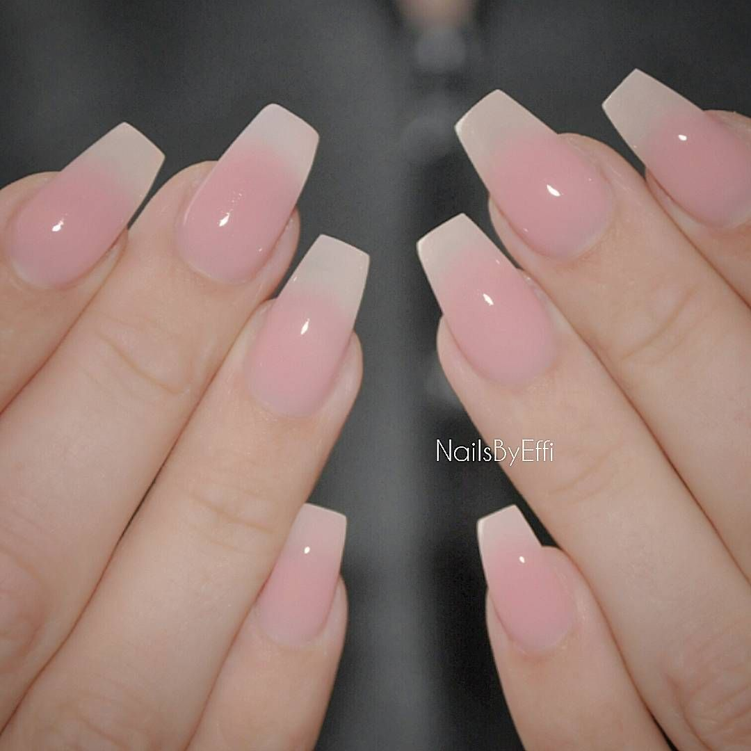 Efh 8eodwra On Instagram Soft Pink Gel On Her Own Natural Nail Pink Gel Nails Ombre Nails Glitter Pretty Acrylic Nails