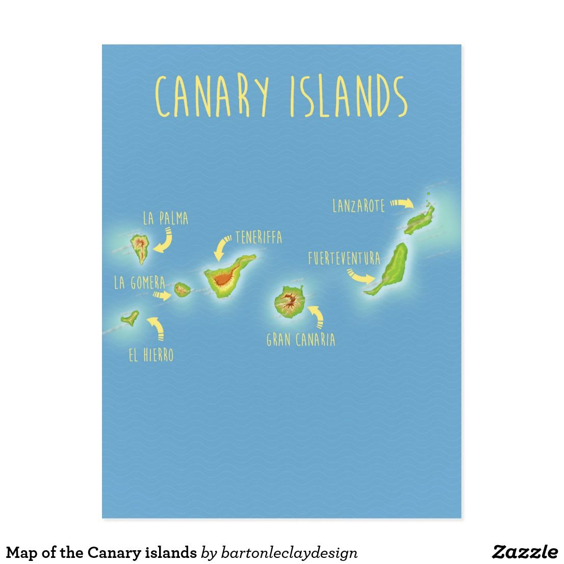 Map Of The Canary Islands Postcard Zazzle Com Canary Islands Postcard Canary Islands Lanzarote