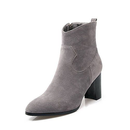 AmoonyFashion Womens Zipper High Heels Frosted Solid Low Top Boots
