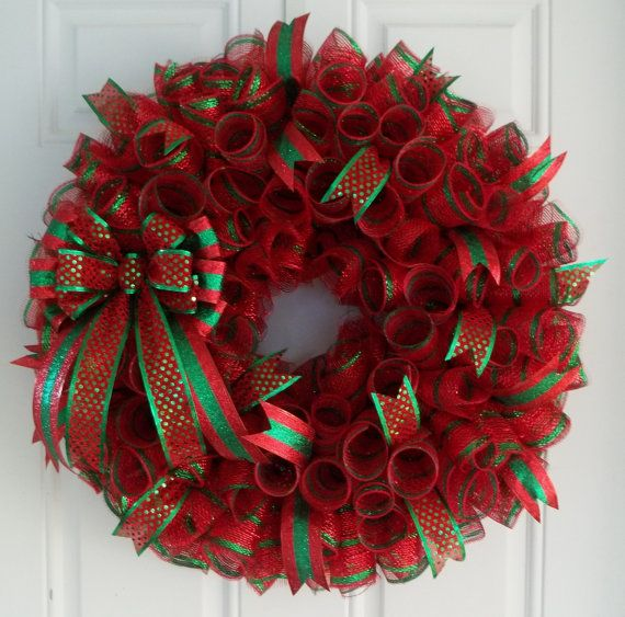 Christmas Mesh Wreath, Christmas Wreath, Holiday Wreath on Etsy