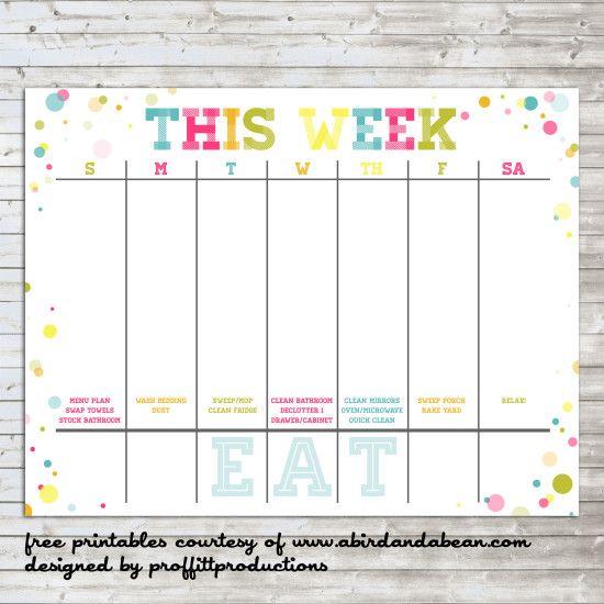 Colorful Weekly Calendar  Free Printable Printables Pinterest