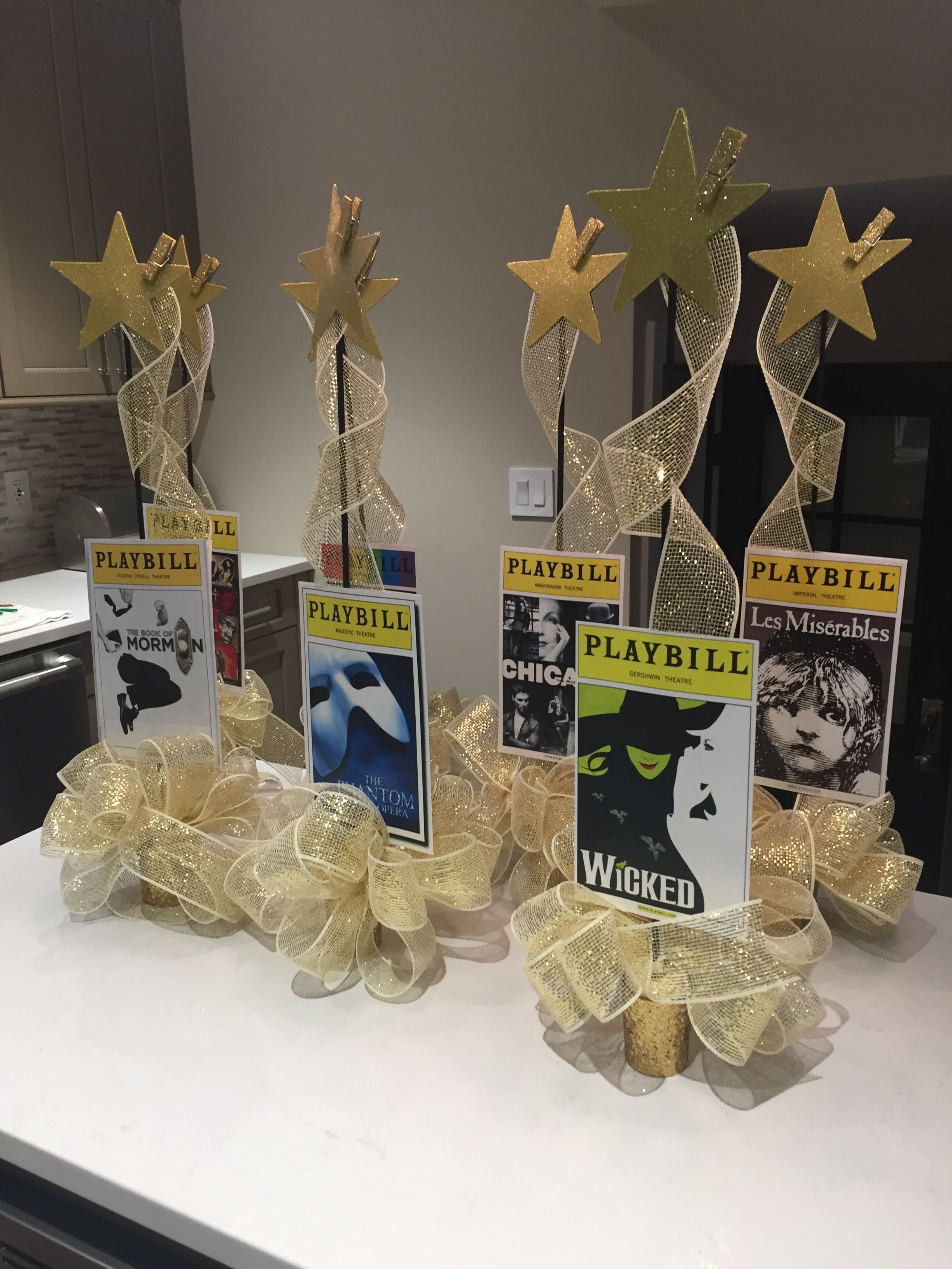 Broadway party Playbill centerpieces Sweet 16 Broadway