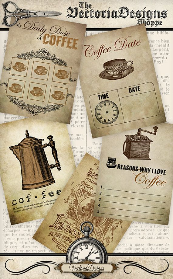 Printable Coffee Journal Cards, there's a punch card, a coffee date card and more. Super great for coffee addicts :D