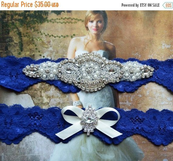 Wedding Garter Set, Bridal Garter Set, Royal Blue Garter, Crystal ...