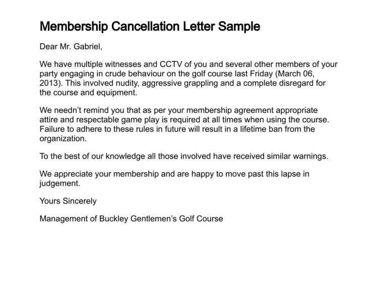 Cancellation Letter Sample Gym Membership Cancel Subscription Amp