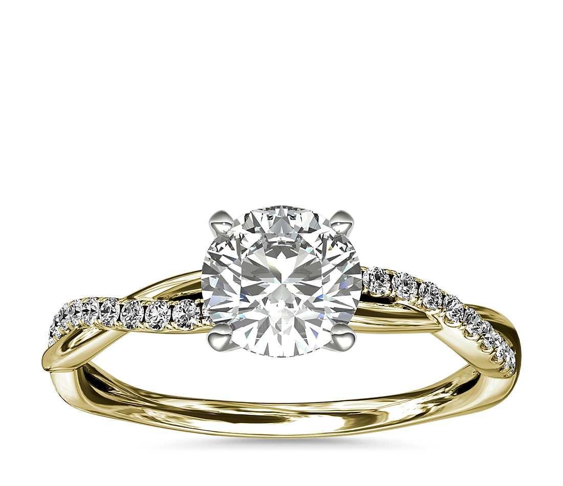 Petite Twist Diamond Engagement Ring In 14k Yellow Gold (1