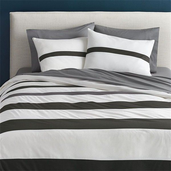Cb2 Elwood Full Queen Duvet Cover Featuring Polyvore Home Bed