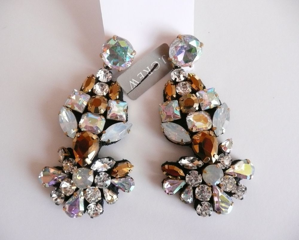 j crew fabric backed crystal statement earrings nwt $88 style