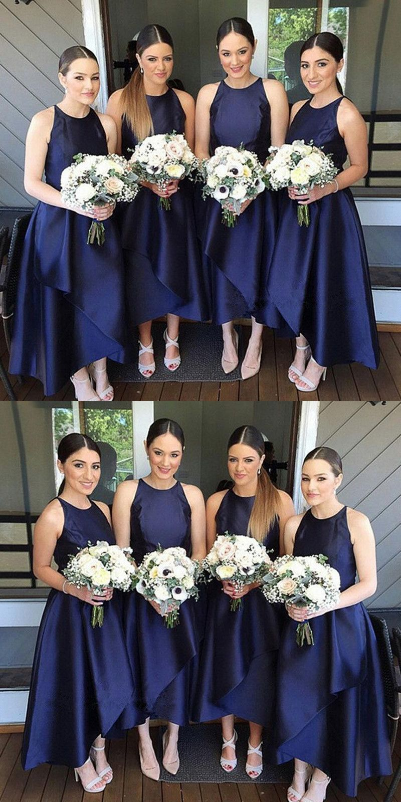 b37d21e2ad9 Simple A-Line Jewel Navy Blue Satin Ankle Length Bridesmaid Dresses ...