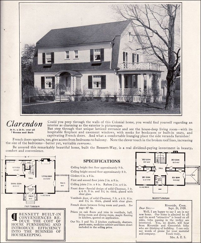 1922 clarendon by bennett homes dutch colonial revival for Dutch colonial house plans with photos