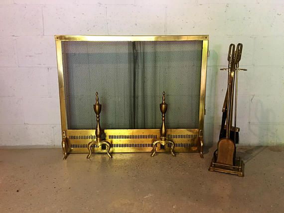 Vintage Mid Century Brass Fireplace Screen With Andirons And