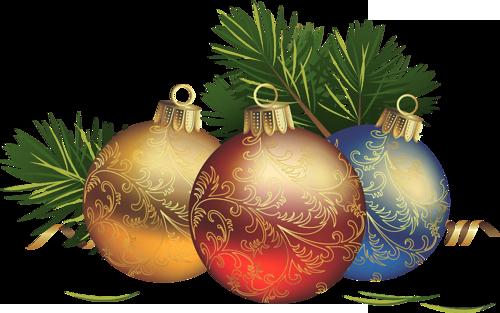 Transparent Christmas Balls with Pine Clipart Christmas