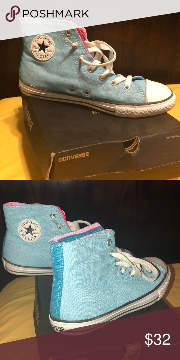 d66cb3686c65 Baby Blue High Top Converse UNISEX WORN ONE TIME (Euro 37.5   Kids size 5