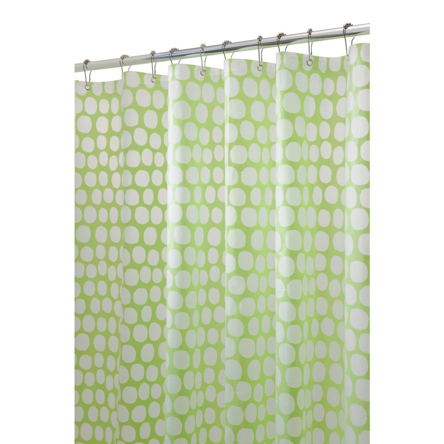 White And Light Green Shower Curtain