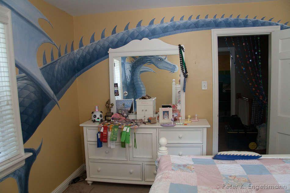 dragon bedroom mural (detail), acrylic on wallboard, © peter k