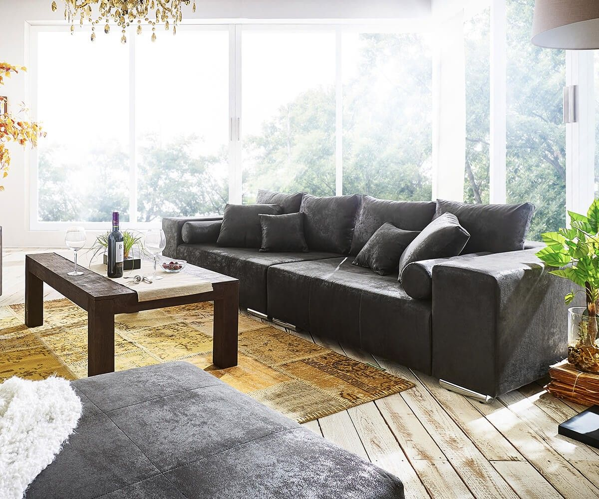 Big Sofa Marbeya 285x115 cm Anthrazit Antik Optik Kissen