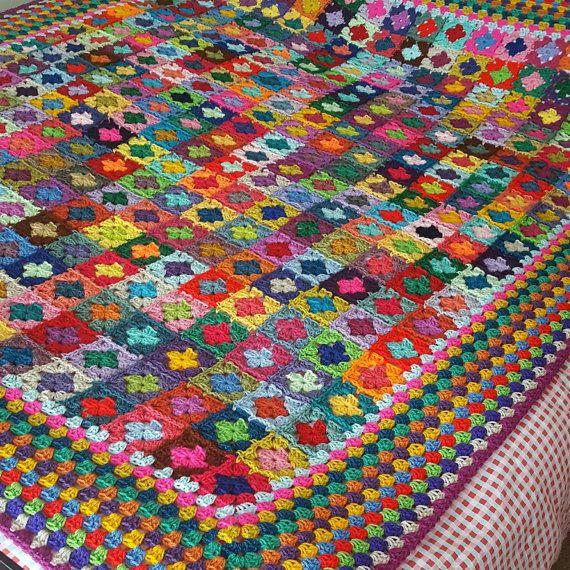 Mini Granny Squares BLANKET Afghan 70\
