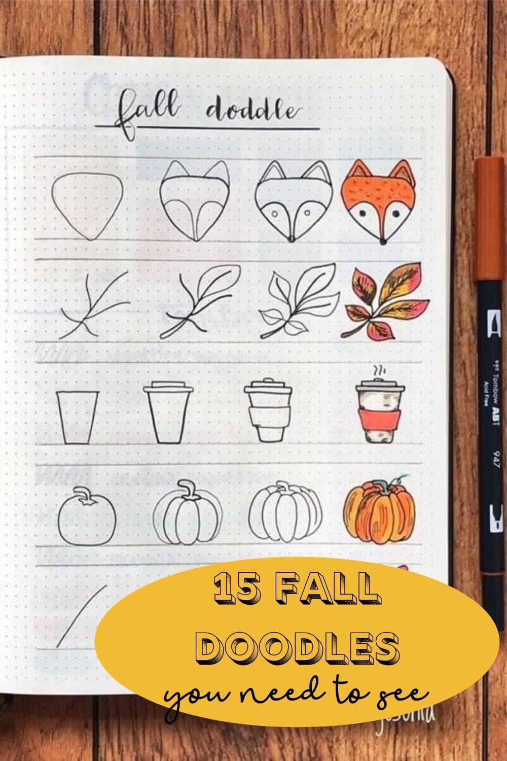 The BEST simple fall bullet journal doodles! I'm so excited to use these in my bullet journal for September, October and November! All the Pumpkin, falling leaves, coffee and general fall mood doodles. Step by step doodles teaching how to draw so simply!