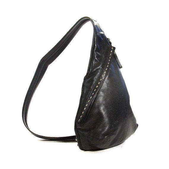 958811c00cf1 Vintage 90s Leather Backpack   Black Leather Convertible Backpack   Sling  Bag   Purse with Pockets   Zippered Shoulder Strap