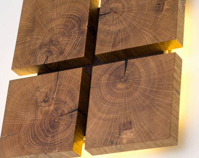 Lámpara de pared de madera decoración #1 hecho a mano Lámpara de - pared de madera
