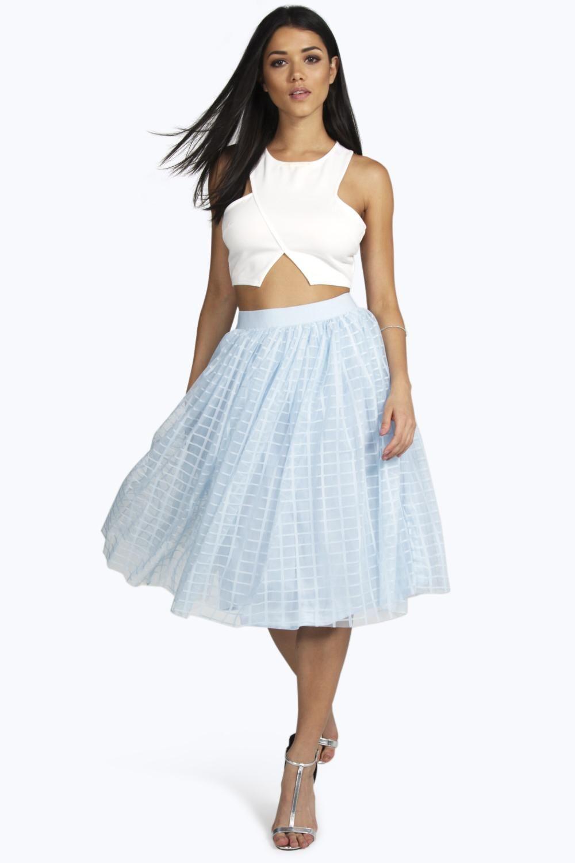 8ea68cb8f4826b Boutique Marin Grid Tulle Full Midi Skirt | Fashion In Skirts | Full ...