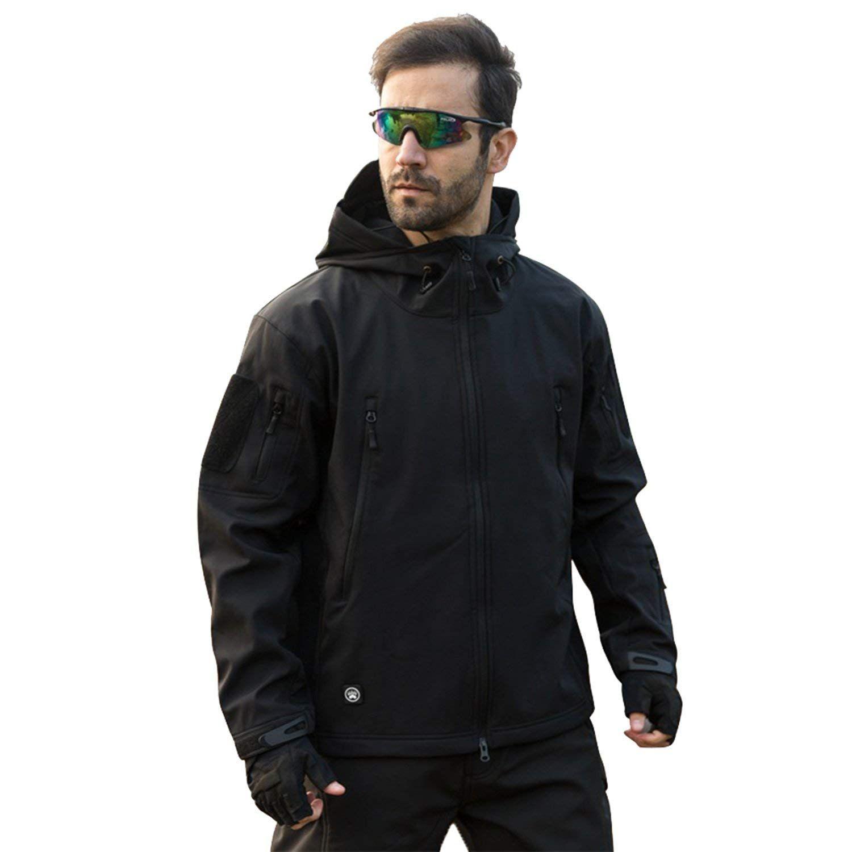 Tacvasen Men S Classic Fleece Liner Hooded Outwear Softshell Tactical Jacket Black Tactical Jacket Army Clothes Winter Jacket Men [ 1500 x 1500 Pixel ]