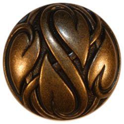Antique Bronze Dome Button w/ Vine Relief