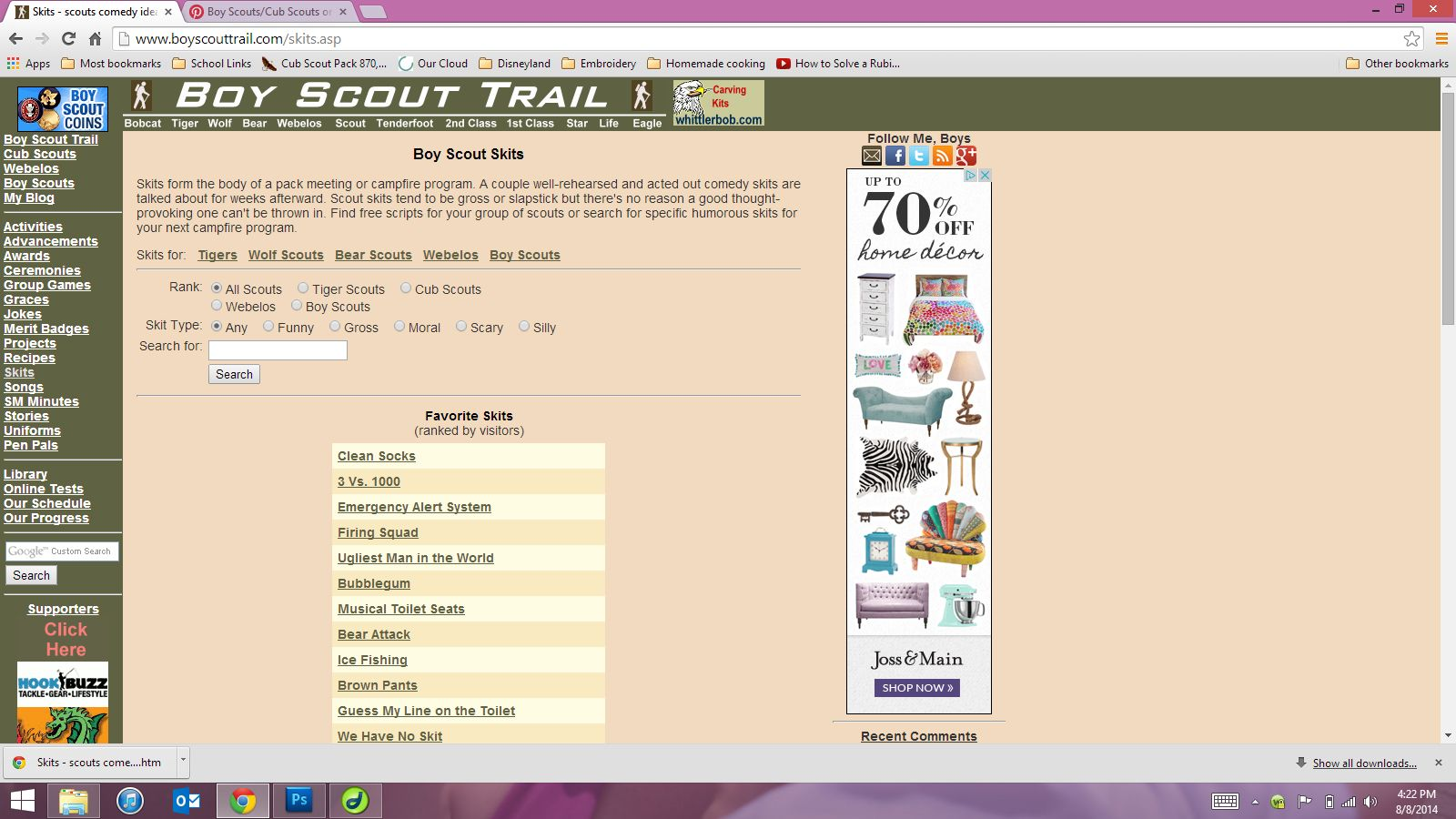 Great site for boy/cub scout skits  http://www.boyscouttrail.com/skits.asp