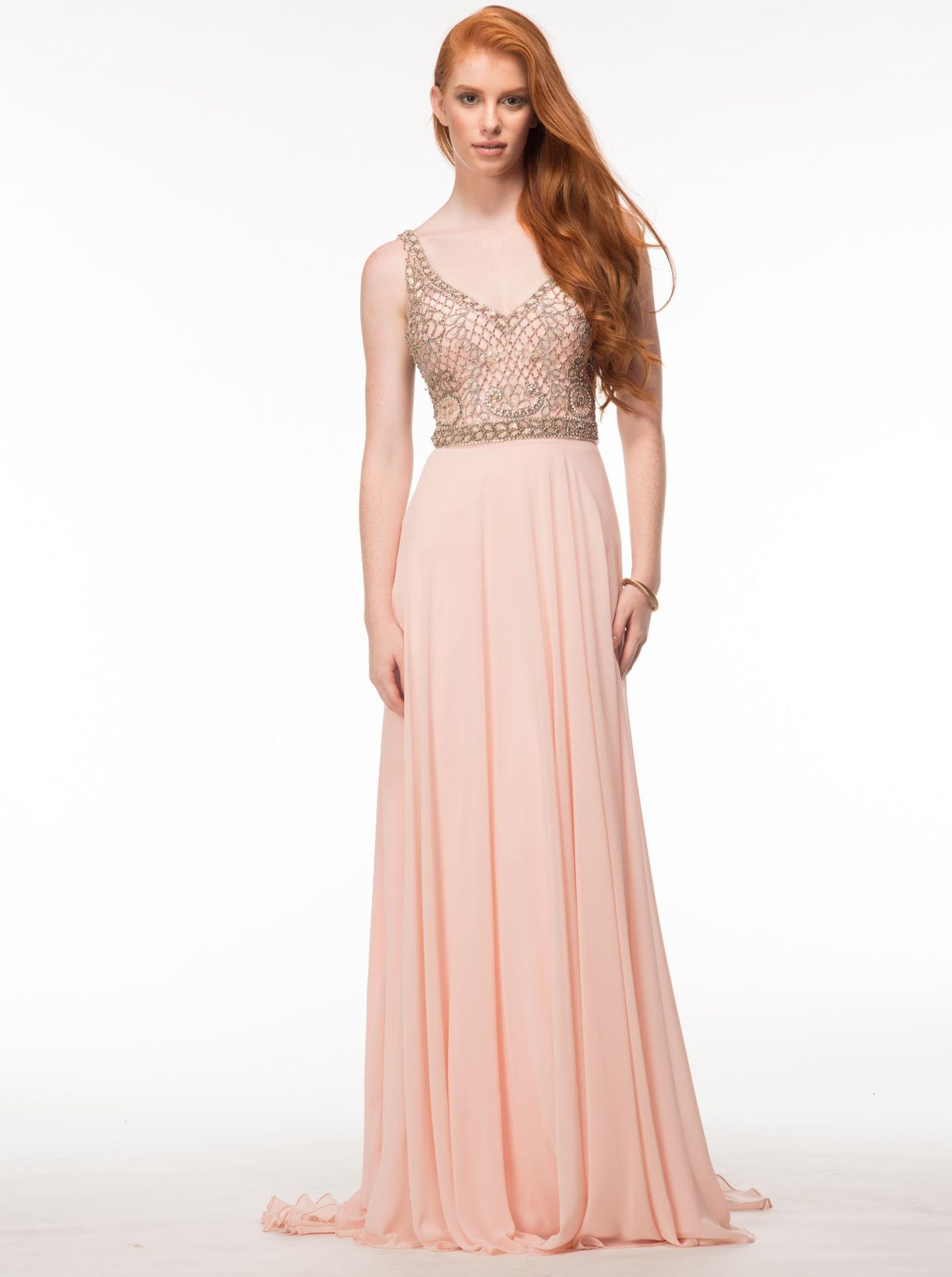 GLOW G605 Blush Chiffon Fit and Flow Prom Dress Evening Gown ...
