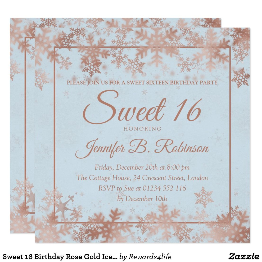 Sweet 5 Birthday Rose Gold Ice Blue Snowflakes Invitation