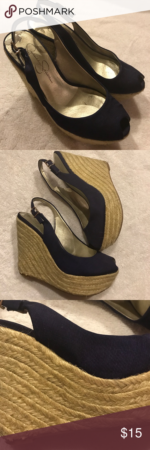 Jessica Simpson Beach Wedge Heels size 5 Worn a few times! Great condition! Size 5. Look amazing with skirts and skinny jeans Jessica Simpson Shoes Wedges