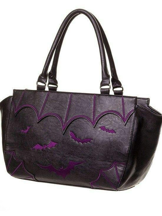 Inked Purple Bats Purse