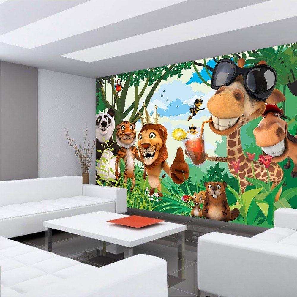 Wandgestaltung Im Dschungel Kinderzimmer Witzige Fototapete Mit