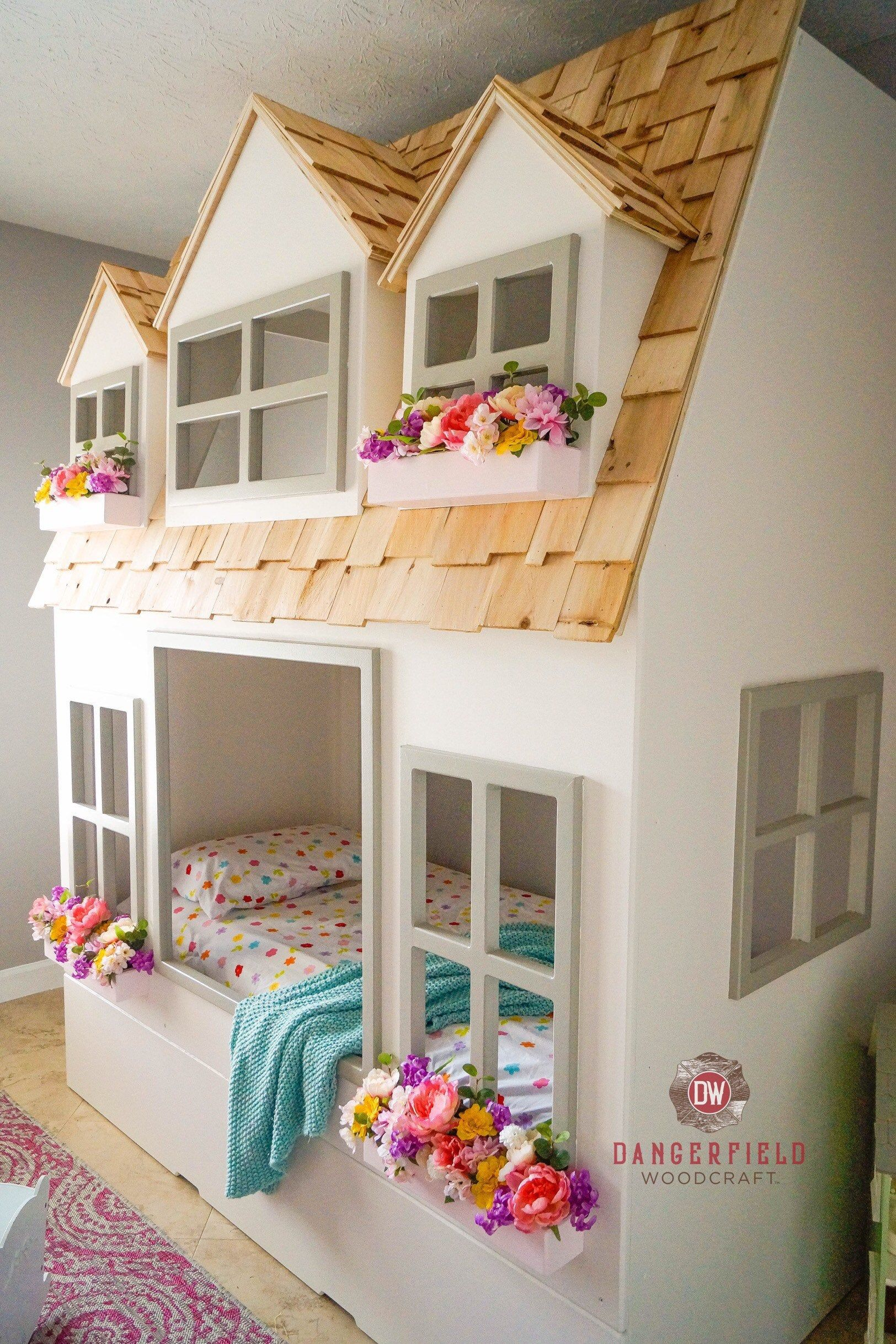 Mia S Country Cottage Bed Loft Bunk Bed Dollhouse Or Playhouse Optional Trundle Slide W Storage Staircase W Storage Or Ladder With Images Cottage Bed Kid Beds Loft Bunk Beds