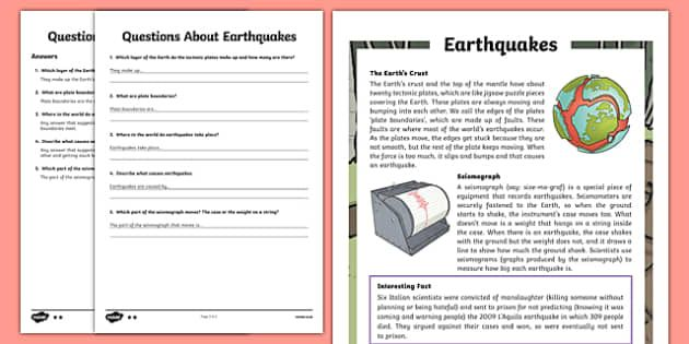 Earthquakes KS2 Differentiated Reading Comprehension ...