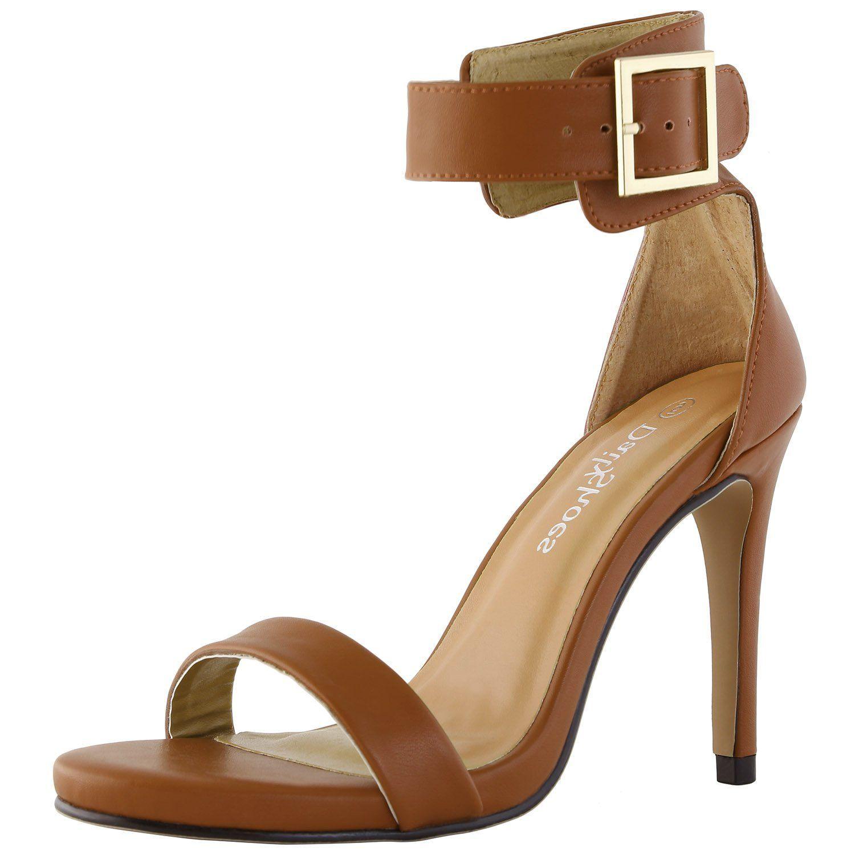 92dbe13087720 Amazon.com | DailyShoes Women's Stiletto Heels Open Toe Ankle Buckle ...