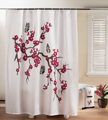 Asian Cherry Blossom Bathroom Shower Curtain | ENJOYING YOUR SPACE ...