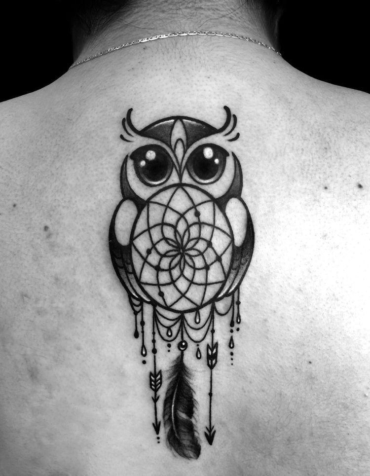 Traumfänger Tattoo Süß Eule Pfeile Ein Feder Mandala Tattoo Art