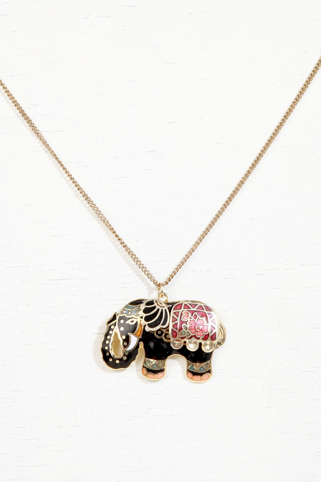 Enamel Elephant Pendant Necklace at Urban Outfitters