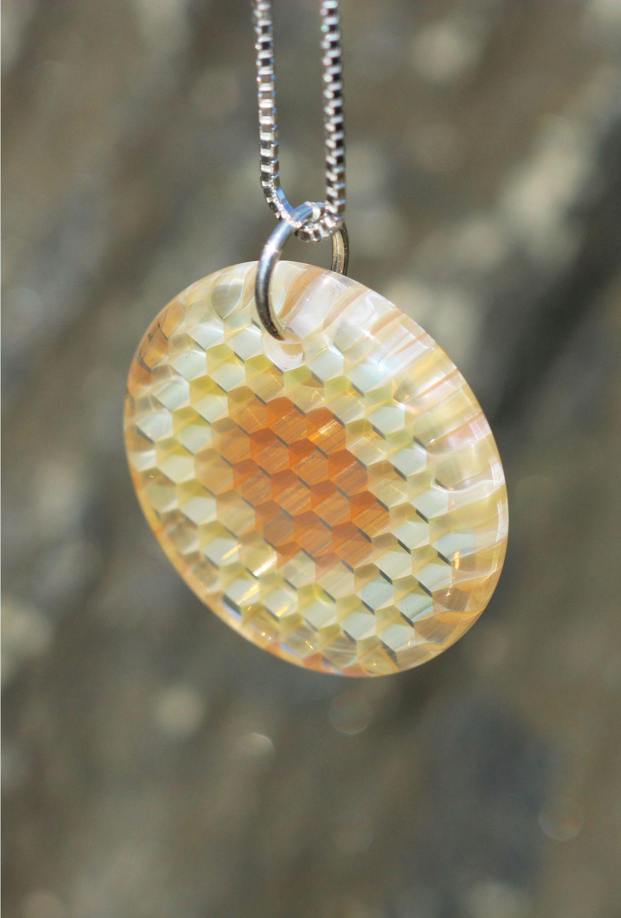 Photo of HONEYGLASS by RT – Golden Eye Circle Honeyglass Necklace