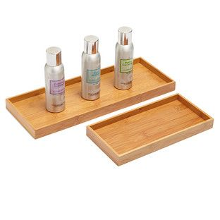 Sized To Fit On A Countertop Vanity Or Toilet Tank Our Bamboo Trays Are A Sleek And Sophisticated Op Toilet Accessories Container Store Bathroom Organisation