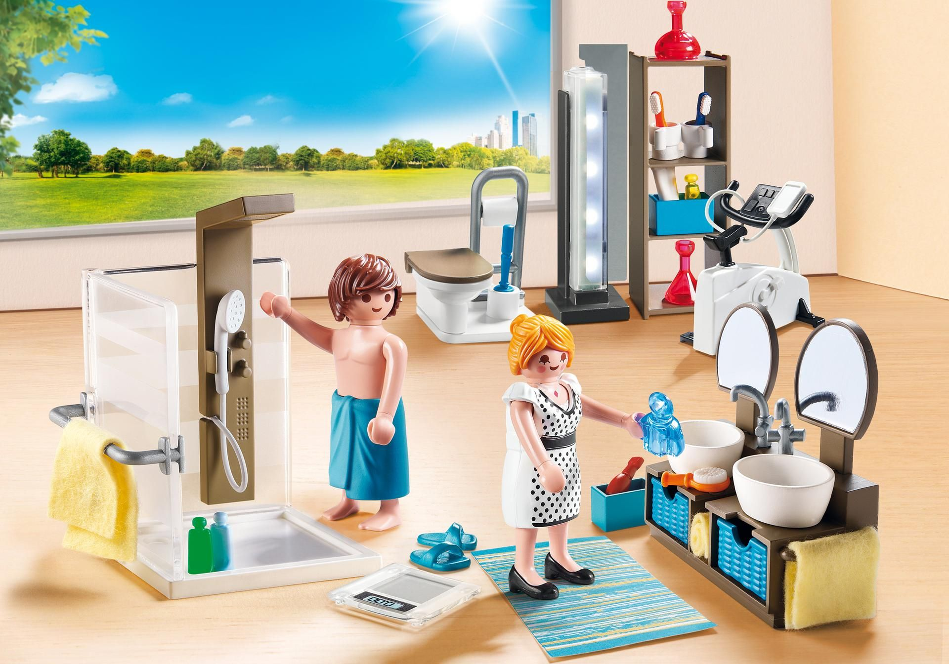 Http Media Playmobil Com I Playmobil 9268 Product Detail Playmobil Shower Cabin Biking Workout