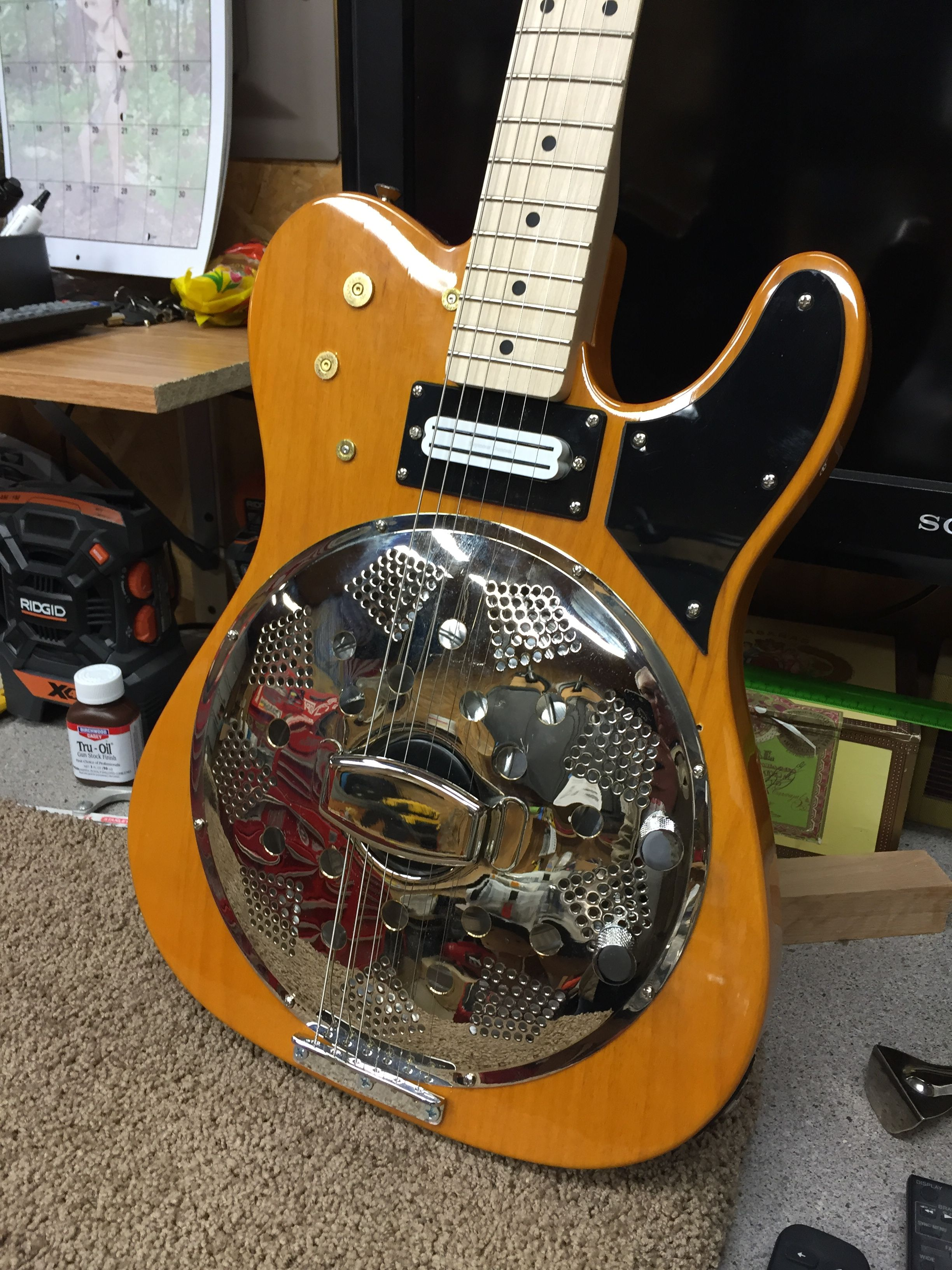 small resolution of resonator telecaster custom biscuit bridge rifle cartridge trim hot rails pickup volume tone knobs
