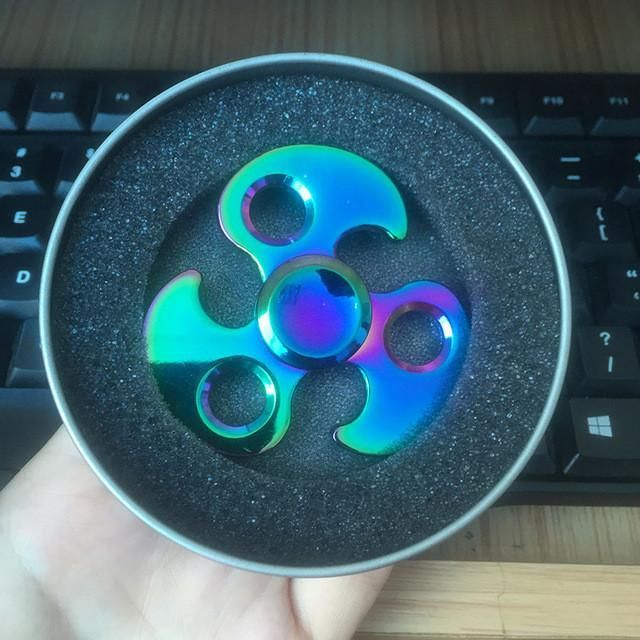 Rainbow Finger Spinner Tri-Spinner Anti Stress Funny Gift Toy for Autism ADHD