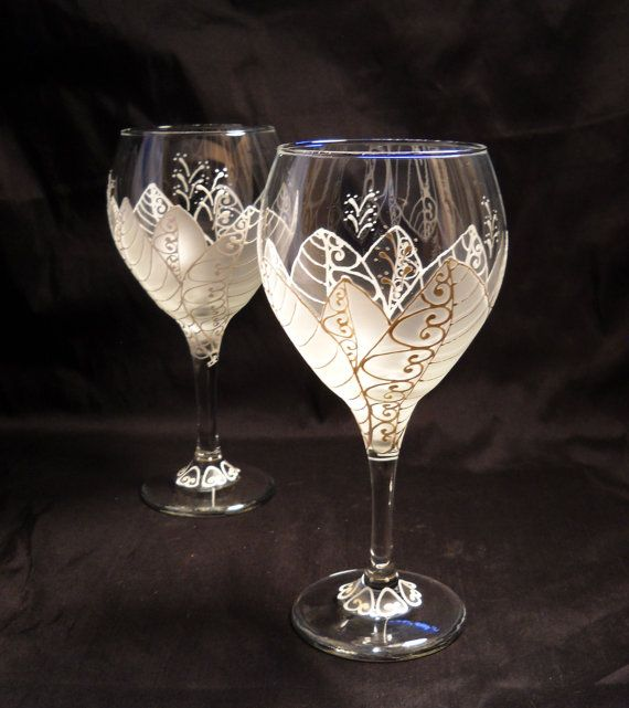 Glassware Hand Painted Wine Glasses White Moon Flower Wedding Glass ...