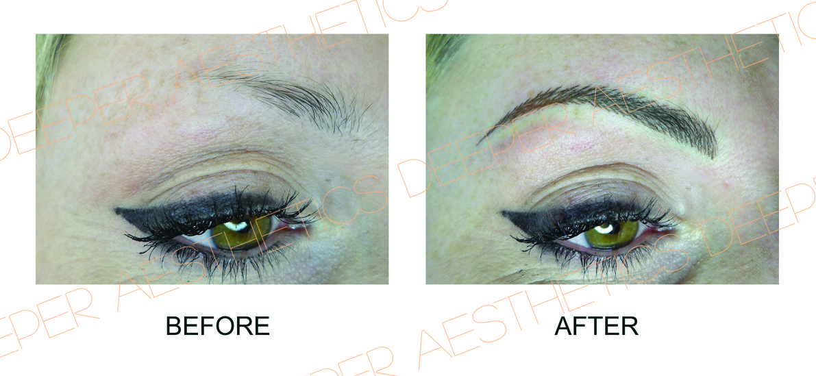 Hairstroke brows with semipermanent make up by Deeper