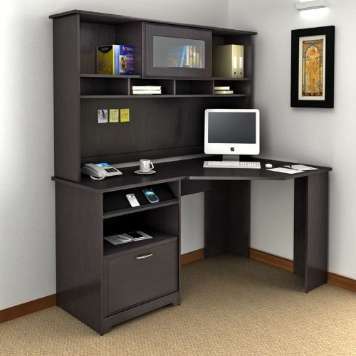 shaped for shelf hutch great designed home idea furniture corner computer desk office and dark wooden l with drawers using