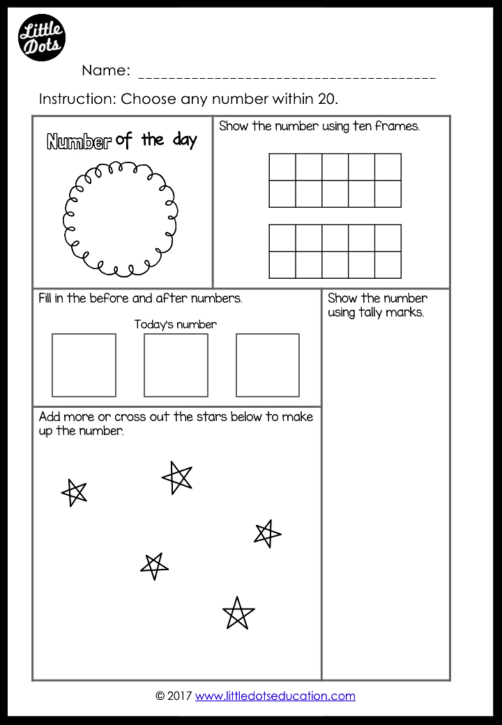 Free Number of the Day Printable and Worksheet for K 2 ...