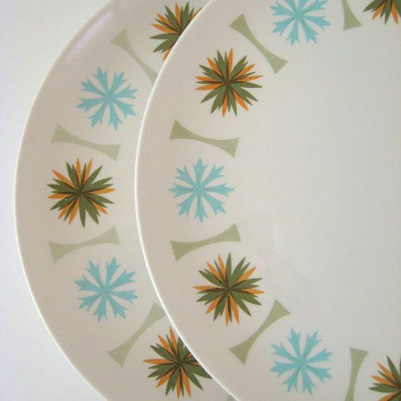 Vintage Dinner Plates Set of 2 Fanfare Casualware Sierra Mid-Century Modern & Vintage Dinner Plates Set of 2 Fanfare Casualware Sierra Mid ...