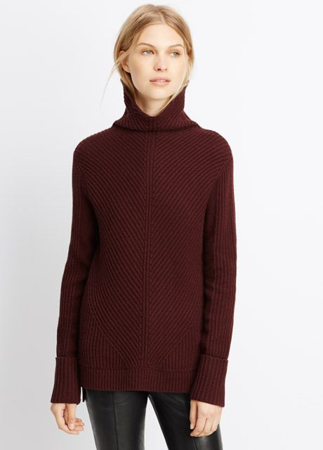 Wool Cashmere Directional Rib Turtleneck Sweater | Vince | STYLE ...